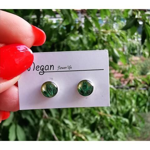 Мини сребърни обеци - зелен лимониум