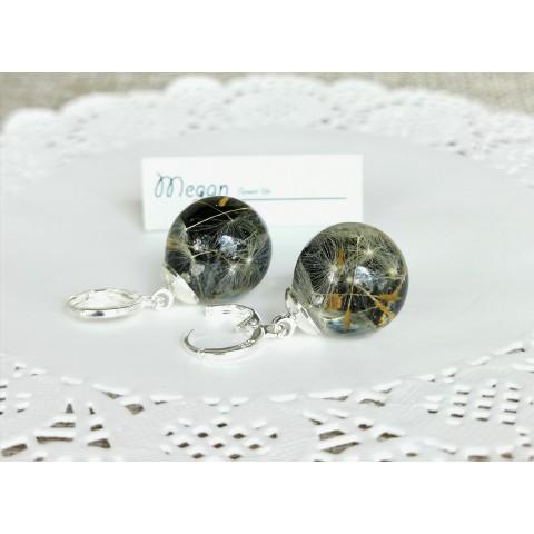 Галактическо глухарче - обеци сфери - сребърни кукички със закопчаване