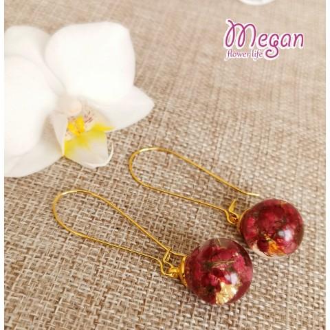 Обеци златни топчета с цвете Ерика