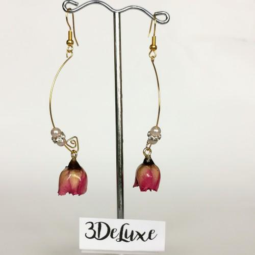 Дълги обеци от розови пъпки и перли