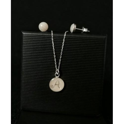 Комплект сребро - медальон с буква и мини обеци