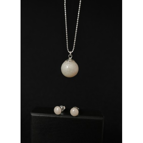 Комплект сребро - перла и мини обеци