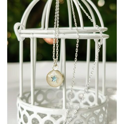 Синя звезда - сребърен медальон с кърма