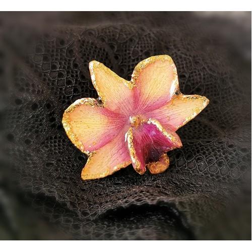 Пръстен триизмерна орхидея - сребърна основа