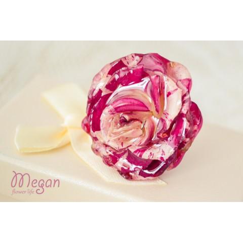 Пръстен Триизмерна розово-бяла роза