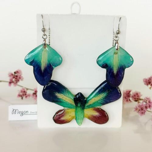 Колие и обеци Пеперуда от орхидея