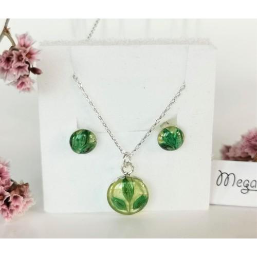 Сребърен комплект - зелен лимониум