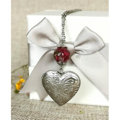 Медальон за снимка сърце - стомана - малък